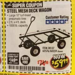 Harbor Freight Coupon STEEL MESH DECK WAGON Lot No. 60359/38137/62576 Expired: 11/30/18 - $59.99