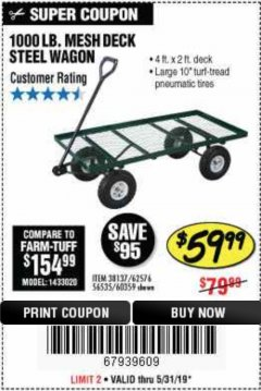 Harbor Freight Coupon STEEL MESH DECK WAGON Lot No. 60359/38137/62576 Expired: 5/31/19 - $59.99