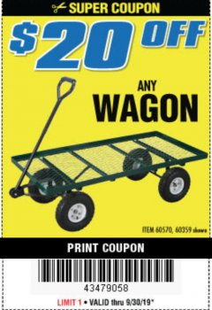 Harbor Freight Coupon STEEL MESH DECK WAGON Lot No. 60359/38137/62576 Expired: 9/30/19 - $0