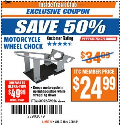 Harbor Freight ITC Coupon MOTORCYCLE WHEEL CHOCK Lot No. 69026/60392 Expired: 7/3/18 - $24.99