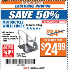 Harbor Freight ITC Coupon MOTORCYCLE WHEEL CHOCK Lot No. 69026/60392 Expired: 9/18/18 - $24.99