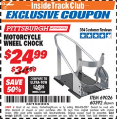 Harbor Freight ITC Coupon MOTORCYCLE WHEEL CHOCK Lot No. 69026/60392 Valid Thru: 3/31/19 - $24.99