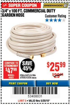 "Harbor Freight Coupon 3/8"" X 100 FT. COMMERCIAL DUTY GARDEN HOSE Lot No. 67020/61770/61906/63479/63336 Expired: 5/20/18 - $25.99"