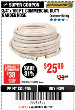 "Harbor Freight Coupon 3/8"" X 100 FT. COMMERCIAL DUTY GARDEN HOSE Lot No. 67020/61770/61906/63479/63336 Expired: 10/7/18 - $25.99"