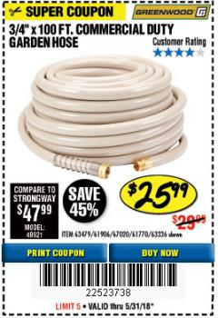 "Harbor Freight Coupon 3/8"" X 100 FT. COMMERCIAL DUTY GARDEN HOSE Lot No. 67020/61770/61906/63479/63336 Expired: 5/31/18 - $25.99"
