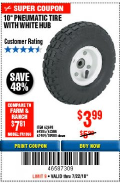 "Harbor Freight Coupon 10"" PNEUMATIC TIRE HaulMaster Lot No. 30900/62388/62409/62698/69385 Expired: 7/22/18 - $3.99"