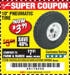 "Harbor Freight Coupon 10"" PNEUMATIC TIRE HaulMaster Lot No. 30900/62388/62409/62698/69385 Expired: 12/10/18 - $3.99"