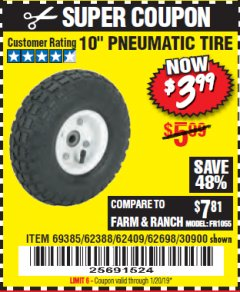 "Harbor Freight Coupon 10"" PNEUMATIC TIRE HaulMaster Lot No. 30900/62388/62409/62698/69385 Expired: 1/20/19 - $3.99"
