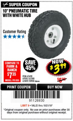 "Harbor Freight Coupon 10"" PNEUMATIC TIRE HaulMaster Lot No. 30900/62388/62409/62698/69385 Expired: 10/21/18 - $3.99"