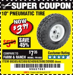 "Harbor Freight Coupon 10"" PNEUMATIC TIRE HaulMaster Lot No. 30900/62388/62409/62698/69385 Expired: 5/1/19 - $3.99"