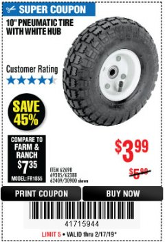 "Harbor Freight Coupon 10"" PNEUMATIC TIRE HaulMaster Lot No. 30900/62388/62409/62698/69385 Expired: 2/17/19 - $3.99"