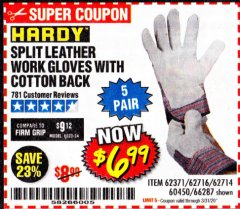Harbor Freight Coupon SPLIT LEATHER WORK GLOVES 5 PAIR Lot No. 60450/62371/62716/62714/66287 Expired: 3/31/20 - $6.99