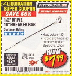 "Harbor Freight Coupon 1/2"" DRIVE 18"" BREAKER BAR Lot No. 60818/67932 Expired: 6/30/18 - $7.99"