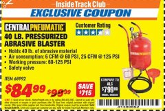 Harbor Freight ITC Coupon 40 LB. PRESSURIZED ABRASIVE BLASTER Lot No. 34202/68992 Dates Valid: 12/31/69 - 6/30/18 - $84.99
