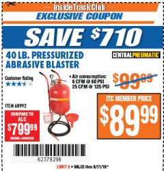 Harbor Freight ITC Coupon 40 LB. PRESSURIZED ABRASIVE BLASTER Lot No. 34202/68992 Expired: 9/11/18 - $89.99