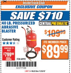 Harbor Freight ITC Coupon 40 LB. PRESSURIZED ABRASIVE BLASTER Lot No. 34202/68992 Expired: 11/20/18 - $89.99