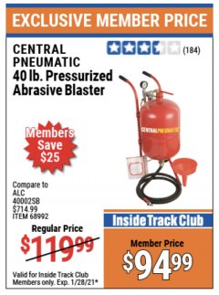 Harbor Freight ITC Coupon 40 LB. PRESSURIZED ABRASIVE BLASTER Lot No. 34202/68992 Valid Thru: 1/28/21 - $94.99