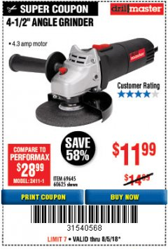 "Harbor Freight Coupon DRILLMASTER 4-1/2"" ANGLE GRINDER Lot No. 95578/69645/60625 Expired: 8/5/18 - $11.99"