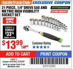 "Harbor Freight ITC Coupon 21 PIECE HIGH VISIBILITY 1/4"" DRIVE SAE/METRIC SOCKET SET Lot No. 62303/67905 Expired: 3/24/20 - $13.99"