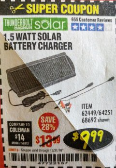 Harbor Freight Coupon 1.5 WATT SOLAR BATTERY CHARGER Lot No. 62449/68692 Expired: 12/31/18 - $9.99