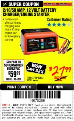 Harbor Freight ITC Coupon 12 VOLT, 2/10/50 AMP BATTERY CHARGER/ENGINE STARTER Lot No. 66783/60581/60653/62334 Expired: 1/10/19 - $27.99