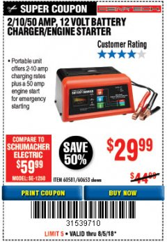 Harbor Freight Coupon 12 VOLT, 2/10/50 AMP BATTERY CHARGER/ENGINE STARTER Lot No. 66783/60581/60653/62334 Expired: 8/5/18 - $29.99