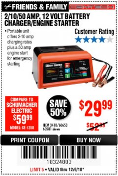 Harbor Freight Coupon 12 VOLT, 2/10/50 AMP BATTERY CHARGER/ENGINE STARTER Lot No. 66783/60581/60653/62334 Expired: 12/9/18 - $29.99