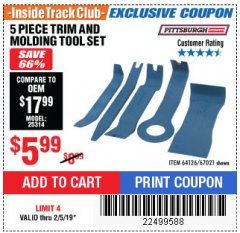 Harbor Freight ITC Coupon 5 PIECE AUTO TRIM AND MOLDING TOOL SET Lot No. 67021/95432 Expired: 2/5/19 - $5.99
