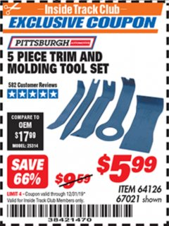 Harbor Freight ITC Coupon 5 PIECE AUTO TRIM AND MOLDING TOOL SET Lot No. 67021/95432 Valid Thru: 12/31/19 - $5.99