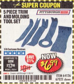 Harbor Freight Coupon 5 PIECE AUTO TRIM AND MOLDING TOOL SET Lot No. 67021/95432 Expired: 11/30/19 - $6.99