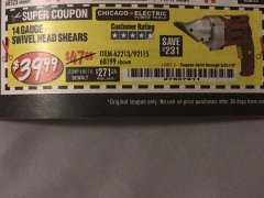 Harbor Freight Coupon 14 GAUGE SWIVEL HEAD SHEAR Lot No. 62213/68199 Expired: 5/31/19 - $39.99