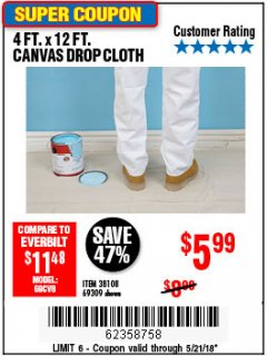 Harbor Freight Coupon 4 FT. x 12 FT. CANVAS DROP CLOTH Lot No. 69309/38108 Expired: 5/21/18 - $5.99