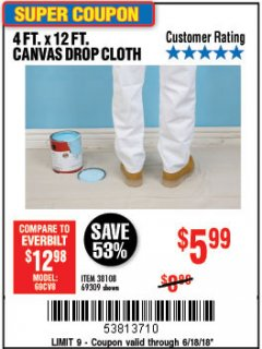 Harbor Freight Coupon 4 FT. x 12 FT. CANVAS DROP CLOTH Lot No. 69309/38108 Expired: 6/18/18 - $5.99