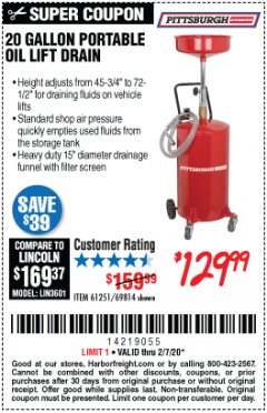 Harbor Freight Coupon 20 GALLON PORTABLE OIL LIFT DRAIN Lot No. 69814/61251/66786 Valid: 1/6/20 - 2/7/20 - $129.99
