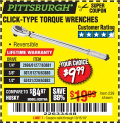 Harbor Freight Coupon TORQUE WRENCHES Lot No. 2696/61277/807/61276/239/62431 Expired: 10/15/18 - $9.99
