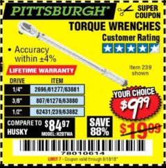Harbor Freight Coupon TORQUE WRENCHES Lot No. 2696/61277/807/61276/239/62431 Expired: 9/18/18 - $9.99