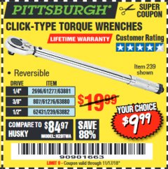Harbor Freight Coupon TORQUE WRENCHES Lot No. 2696/61277/807/61276/239/62431 Expired: 11/17/18 - $9.99