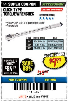 Harbor Freight Coupon TORQUE WRENCHES Lot No. 2696/61277/807/61276/239/62431 Expired: 9/30/18 - $9.99