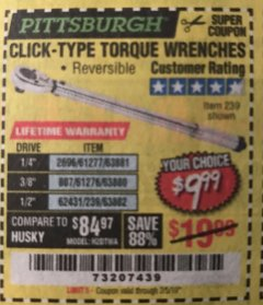 Harbor Freight Coupon TORQUE WRENCHES Lot No. 2696/61277/807/61276/239/62431 Expired: 2/5/19 - $9.99
