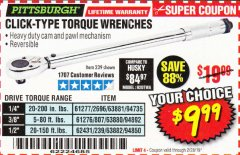 Harbor Freight Coupon TORQUE WRENCHES Lot No. 2696/61277/807/61276/239/62431 Expired: 2/28/19 - $9.99