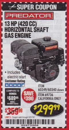Harbor Freight Coupon 13 HP (420 CC) OHV HORIZONTAL SHAFT GAS ENGINES Lot No. 60349/60340/69736 Expired: 3/31/18 - $299.99