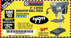"Harbor Freight Coupon 8"", 5 SPEED BENCH MOUNT DRILL PRESS Lot No. 60238/62390/62520/44506/38119 Valid Thru: 6/2/18 - $49.99"