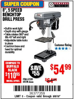 "Harbor Freight Coupon 8"", 5 SPEED BENCH MOUNT DRILL PRESS Lot No. 60238/62390/62520/44506/38119 Expired: 8/6/18 - $54.99"