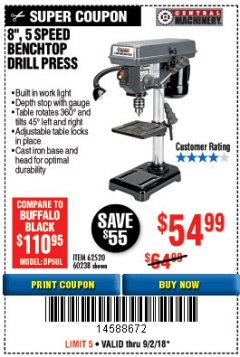 "Harbor Freight Coupon 8"", 5 SPEED BENCH MOUNT DRILL PRESS Lot No. 60238/62390/62520/44506/38119 Expired: 9/2/18 - $54.99"