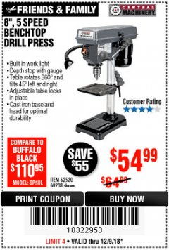 "Harbor Freight Coupon 8"", 5 SPEED BENCH MOUNT DRILL PRESS Lot No. 60238/62390/62520/44506/38119 Expired: 12/9/18 - $54.99"