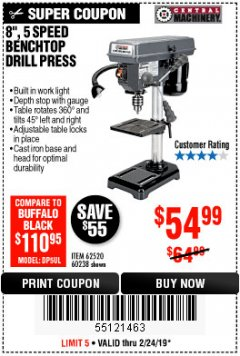 "Harbor Freight Coupon 8"", 5 SPEED BENCH MOUNT DRILL PRESS Lot No. 60238/62390/62520/44506/38119 Expired: 2/24/19 - $54.99"