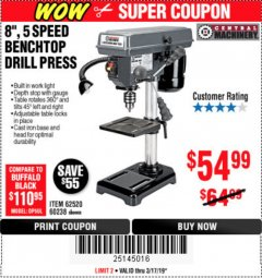 "Harbor Freight Coupon 8"", 5 SPEED BENCH MOUNT DRILL PRESS Lot No. 60238/62390/62520/44506/38119 Expired: 3/17/19 - $54.99"