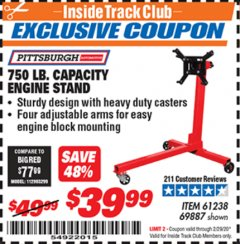 Harbor Freight ITC Coupon 750 LB. CAPACITY ENGINE STAND Lot No. 32915/69887/61238 Expired: 2/29/20 - $39.99