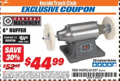 "Harbor Freight ITC Coupon 6"" BUFFER Lot No. 94393/61557 Expired: 8/31/19 - $44.99"