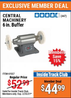 "Harbor Freight ITC Coupon 6"" BUFFER Lot No. 94393/61557 Expired: 2/25/21 - $44.99"